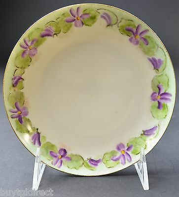 """KPM China Bread & Butter Plate Purple & Green Floral Gold Trim 7"""" Collectible"""