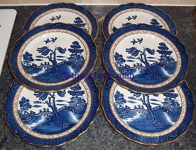 """set of 6 SUPERB vintage BOOTHS pottery OLD WILLOW 8.5"""" PLATES"""