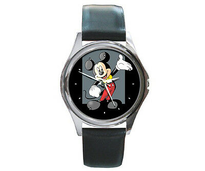 Mickey Mouse tuxedo Disney cartoon style watch montre black leather band NEW