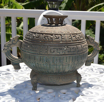 Mid Century Hollywood Regency James Mont Patinated Green Metal Asian Ice Bucket