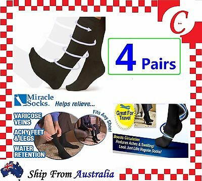4Prs Compression MIRACLE SOCKS Aching Feet Varicose Veins Flight Travel Copper