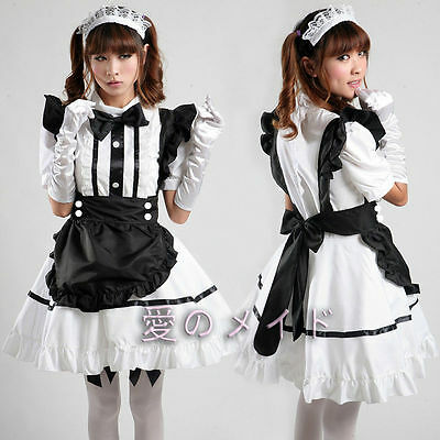 Cosplay Sexy French Bobby Lolita White Maid Outfit Costume Party dress apron