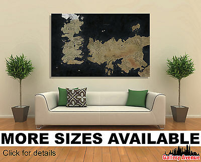 Wall Art Canvas Picture Print - Game of Thrones The Known World Map 3.2