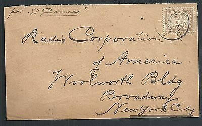 Curacao covers 1920 Shipcover to New York by SS CARACAS