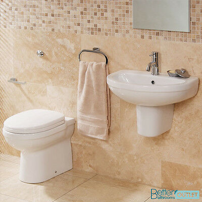 Back To Wall Toilet Modern WC Bathroom Suite Cloakroom Wall Hung Basin Sink