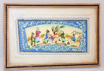 Persian vintage framed panel hand painted Lot 179
