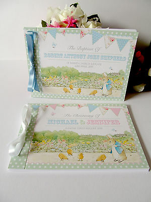 Personalised Guest Book Naming Day Baptism Christening Birthday Peter Rabbit