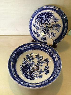 EARLY ENGLISH ROUND VERY DARK  Flow Blue Covered Vegetable