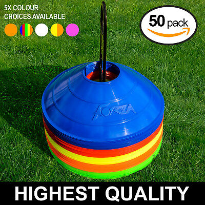 Football/Soccer Training Marker Cones & Stand [50 QTY] - UK Seller/24hr Ship