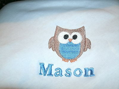 Owl Personalized Baby Toddler Infant  Blanket Cute  Boy Owl ANY COLOR  Chest