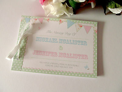 Personalised Guest Book Naming Day Album Christening Bunting Baby Shower Party