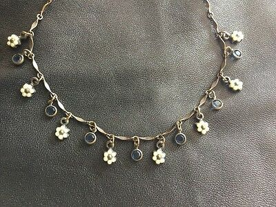 Roxanne Assoulin Vintage Victorian Style Pearl & Blue Rhinestone Necklace.