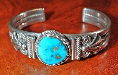GARY REEVES STERLING SILVER BRACELET HIGH GRADE BLUE SLEEPING BEAUTY TURQUOISE