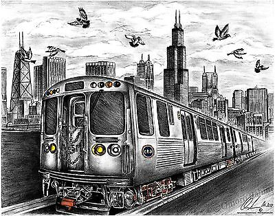 Chicago CTA Train and skyline pencil drawing, direct from artist.