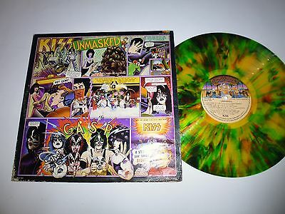 """KISS Unmasked 1980 unusual MULTICOLOR splattered Vinyl 12"""" LP EXTREMELY RARE!"""