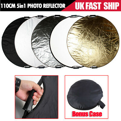 "110cm 5in1 Multi Collapsible Disc Reflector Photo Studio Light 43"" Handle Grips"