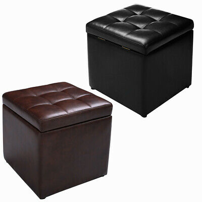 Faux Leather Ottoman Pouffe Storage Toy Box Foot Stools 1&2 Seater Bench Seat