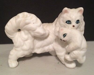 Bone China Miniature Persian Cat And Kitten White Hand Painted With Label