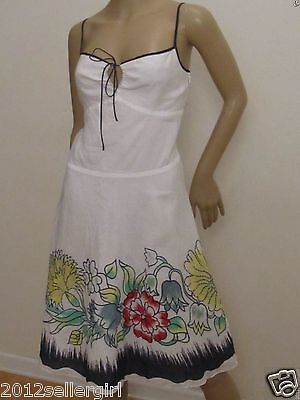 NWT DKNY WHITE FLORAL EMBROIDERED COLORFUL SPAGHETTI SUMMER A-LINE DRESS SZ 6