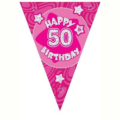 50th Birthday Party Pink Holographic Flag Bunting Banner Decoration
