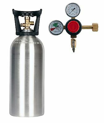 New 10 lb. Aluminum Cylinder CGA320 & Dual Gauge CO2 Regulator - FREE SHIPPING