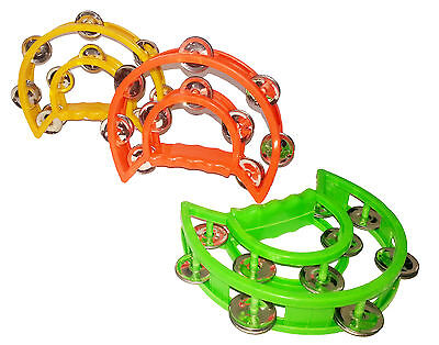 Double HALF MOON TAMBOURINE PERCUSSION 20 JINGLES Grip Handle Toy Musical  Drum