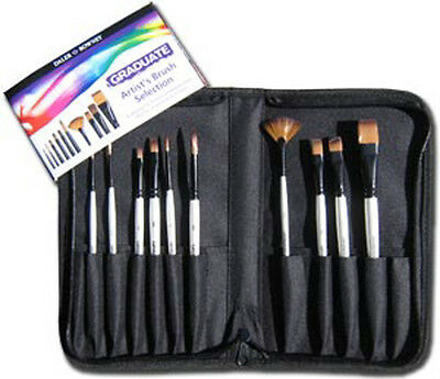 Daler Rowney Graduate 10 Artist Paint Brush Set Travel Carry Case - Short Handle