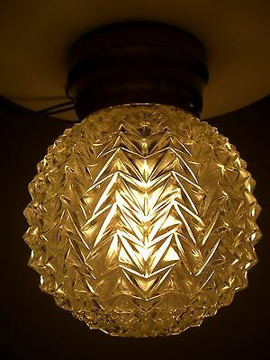 Vintage Clear Crystal Round Glass Globe Hollywood Regency Ceiling Light Fixture