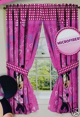 Disney girls minnie mouse pink curtain panel set hearts bows 42x63