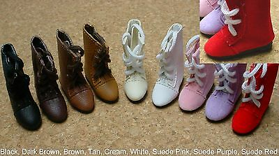 DOLL Shoes 44mm PINK SUEDE Lace up boots  Ellowyne, Patience & NuMood