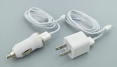 USB Home AC Wall + Car Charger + 2x 8 Pin Data Sync Cable For iPhone 5 5S 5C USA