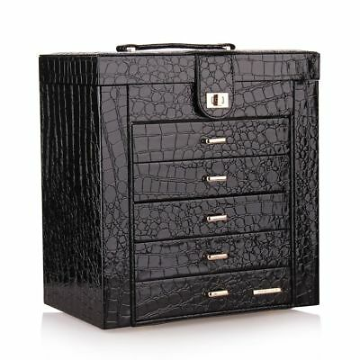 Large Jewellery Boxes Girls Necklaces Earring Storage Cases PU Leather Organiser