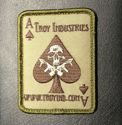 TROY INDUSTRIES  OD DEATH CARD VELCRO PATCH SHOOTING GUN M7 AR TACTICAL DECAL