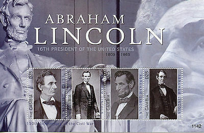 Gambia 2011 MNH Abraham Lincoln 16th President of the United States 4v M/S II