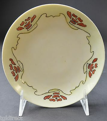 """KPM China Red Green Bordered Bread & Butter Plate 6"""" Round Collectible Tableware"""