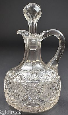 "McKee Glass Company Cruet With Stopper Napoleon Pattern EAPG 6.5"" Tall Glassware"