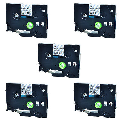 5PK TZ-131 12mm Black on Clear TZe-131 Label Tape For Brother P-touch 1/2''x8M