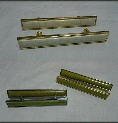 Vtg Mid Century Drawer Pulls Hardware Match Set Of 2 Asst Color Read Description