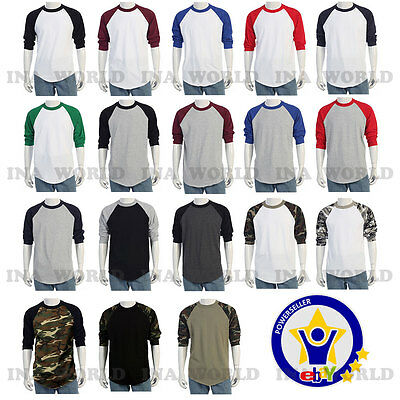 Raglan 3/4 Sleeve Baseball Plain T- shirts Team Sports Jersey fashion Tee  S~3XL