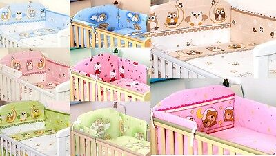 3 Pcs Nursery Baby Bedding Set To Fit Cot & Cot Bed Quilt Duvet Pillow Bumper
