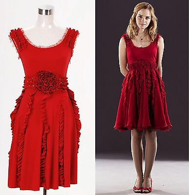 Harry Potter and the Deathly Hallows Hermione Granger Red Dress Costume Tailored