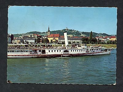 """View of the Passenger Boat """"Budapest"""" at Linz. Stamp/Postmark - C1970's"""