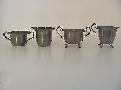 TWO VINTAGE PEWTER CREAMER & SUGAR SETS K.S. Co. P79 & A 613