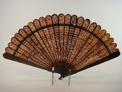 Rare Antique Chinese Carved Faux Tortoise Shell Tortoiseshell Brise Fan 1825
