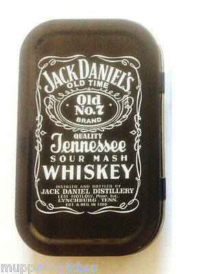 JACK DANIELS TIN 1oz JD Hinged Stash Cigarette Tobacco Smoking Tin *GREAT GIFT*