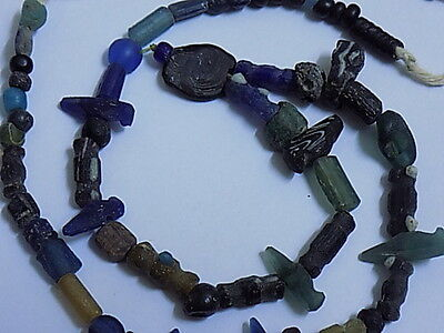 Ancient Roman Glass Fragments Beads Strand 200 BC #1722