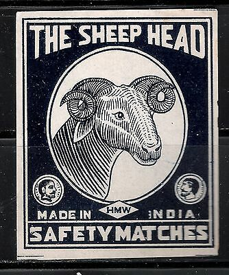 OLD MATCHBOX LABEL PACKET SIZE INDIA THE SHEEP HEAD