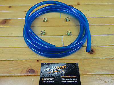 "Electric Blue 1/4"" Fuel Line Kit For Snowmobile Dirt Bike Quad Mower Motorcycle"