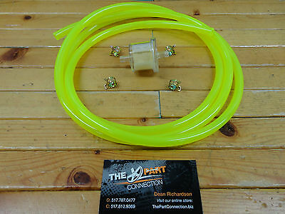 "Electric Yellow 1/4"" Fuel Line & Filter Kit Snowmobile Dirt Bike Quad Motorcycle"