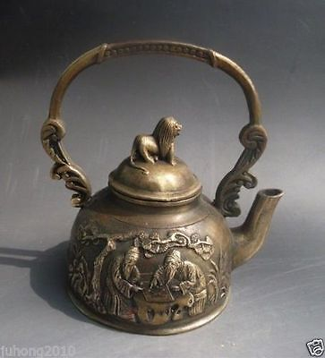 Chinese Bronze carved ' Old man playing chess ' Teapot